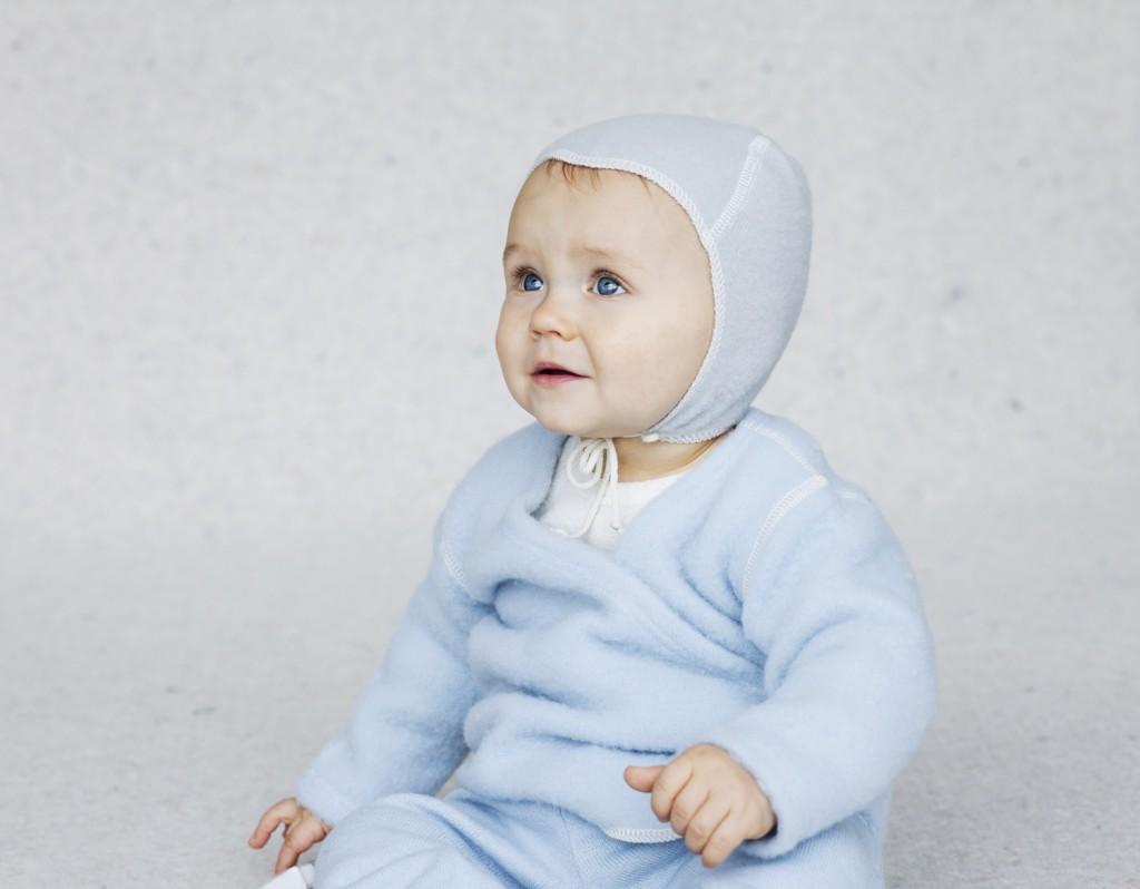 Uldsweater lyseblå med barn